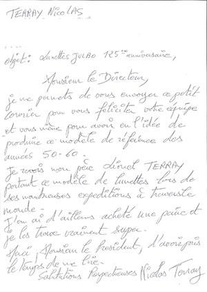 Lettre Nicolas Terray
